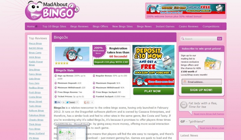 Bingo Site Reviews for Mad About Bingo