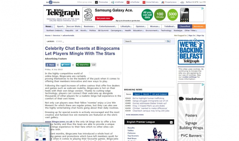 Online Bingo Advertorial for the Belfast Telegraph