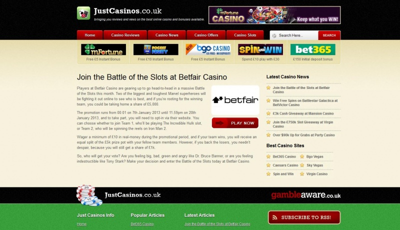 Daily Promotion Articles for Just Casinos