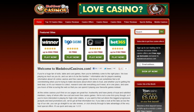 Homepage & Static Content for Mad About Casinos